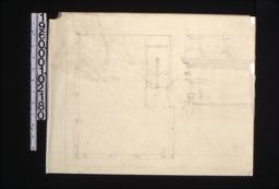 Plan of lodge room in third floor?\, elevation and section through cornice showing structure on roof