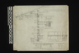 1/2 in. scale wall section showing rafters and door and window framing\, exterior and interior elevations of window\, splice for sill in plan and section\, plan of beams\, detail of beam work in hall showing relation of beam work on rear terrace\, elevations of porte cochere -- side elev. end elev.