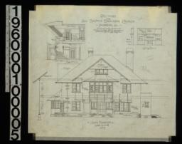 South elevation with section through wall ; section through main hall ; front and side elevations of fireplace in dining room : No. 5.