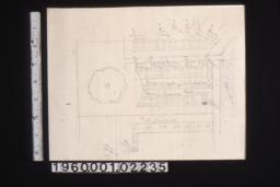 Sketch of plan of flowerbeds between garage and back of house.