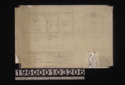 Sketch for a potting house -- plan\, south elevation\, west elevation :Sheet no. 1\,