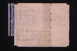 Partial west elevation\, partial second floor plan\, unidentified sketch : 1-2.