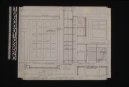 """1 1/2 inch scale details of pantry and china case in dining room -- plan\, section and elevation of china case; details of pantry in plan and elevation\, plan of cupboard """"A"""" :#7."""