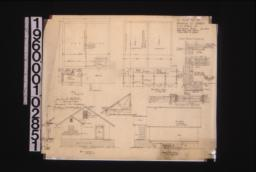 Ice house -- plan\, foundation plan\, west elevation with section through wall\, north elevation\, 1/4 inch detail showing manner of trussing rafters\, details of insulation\, detail of ice house door\,