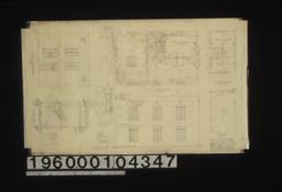 Front elevation (west); first floor plan; second floor plan; section of side wall; window frames detail; detail of roof flashing; south elevation; roof plan :Sheet no. 1. (3)