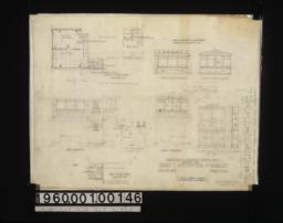 """Additions to sleeping porch\, etc. -- second floor plan\, interior elevations of west side of porch and north side of porch\, west elevation and north elevation of exterior\, 3/4"""" scale detail of flower box; den -- first floor plan\, details of case in lavatory :Sheet no. 2."""