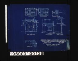Alternate scheme for den -- east elevation of interior\, south elevation of interior\, side and front elevations of fireplace\, first floor plan\, east elevation of exterior\, north elevation of exterior\, foundation plan :Sheet no. 8\,