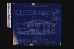 Front (east) elevation ; interior details -- section thro' fireplace, west side of living room, west side of dining room, stairs, north side of dining room, west side of den, north side of den, looking west in hall (2nd floor), looking south in hall (2nd floor) :Encapsulated in mylar.Sheet no. 5.
