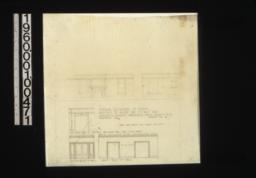 Interior elevations of rooms -- west side of living room\, norht side of living room\, living room side of openings between hall and living room\, south elev' of hall\, west elev' of hall :Sheet no. 14.