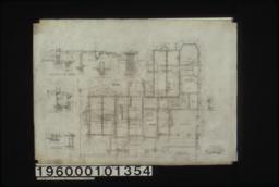 Foundation plan; detail drawings -- wall footings\, area windows\, chimney footins\, fruit cupboard :Sheet no. 1.