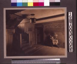 Entry hall\, view toward the staircase.