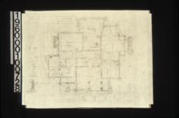 """Foundation plan with 1/4"""" scale section """"A-A""""\, 1/2 inch scale detail of chimney footing (Y)\, detail drawing of girder post footings\, 1/2 inch scale section thro' wall footings :Sheet no. 1\,"""