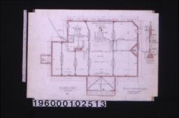 """Foundation plan; section A-B through foundation; detail of chimney footings; detail ... showing brick footings for 8"""" and 12"""" piers :No. 1."""