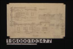 South elevation (north elevation similar) ; section through front wall, detail drawings of center wall, half front (east) elevation (other half similar), half rear elevation (other half similar) ; elevation of living room mantel, bookcase & desk ; section thro' book shelves, section thro' center line, half plan ; section through window frames : Sheet no. 3.