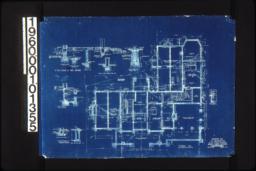 Foundation plan; detail drawings -- wall footings\, area windows\, chimney footings\, fruit cupboard :Sheet no.1.