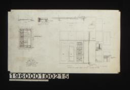 Plan and front elevation of elevator doors for 1st & 2nd floors, Full scale plan of edge of doors; details of sliding doors between showroom & rear -- plan, elevation, section, typical F.S. sections :nSheet no. 20.