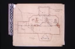 "Foundation plan; detail drawings -- 9"" brick piers and footings\, wall and footings\, concrete chimney footings :1."