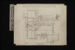 Foundation plan; detail drawings of girder posts footings\, living rm. chimney footing\, outside wall :No. 1.