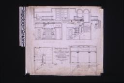 1/2 inch scale details of hall and front stairs -- east elevation of hall with joining of window casings on stairs; casement (same detail for screens to this window); section thro' stairs; stair plan; west elevation and part plan of hall :9.