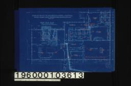 First floor plan; elev. of fireplace\, sect'n thru chimney; detail of beam -- end\, side :Sheet no. 2. (2)
