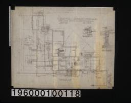 Foundation plan; 3/4 inch scale section of foundation wall on A-A; 1/4 inch scale sect'n of living r'm chimney footing; 1 1/2 inch scale section of general foundation wall; 3/4 inch section of garage footing; detail drawings of -- girder post footings\, footing for kitchen chimney\, and section B-B :Sheet no. 1\,