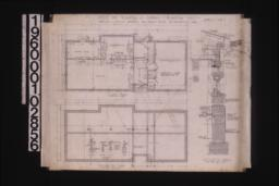 Office -- floor plan\, foundation plan with sections\, section thro' wall : Sheet no. 1.