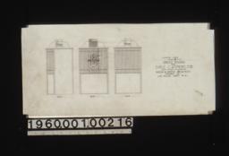 Elevation of elevator cage -- front\, rear\, side :Sheet no. 21.