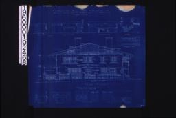 Front (east) elevation; interior details -- section thro' fireplace\, west side of living room\, west side of dining room\, stairs\, north side of dining room\, west side of den\, north side of den\, looking west in hall (2nd floor)\, looking south in hall (2nd floor) :Sheet no. 5. (4)