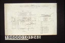 Plan of addition; elevations of bedroom -- west side\, north side; south elevation of addition; detail drawings of front door in elevation and full size section :Sheet no. 1.