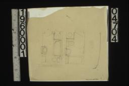 Sketches of plans of bathrooms