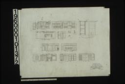 Details of kitchen and pantry in elevations and sections; living room -- south elevation\, west elevation showing side of mantel; line case in bathroom no. 2 -- section\, half elevation; dining room -- west elevation\, north elevation; north elevation of hall; library -- north elevation\, south elevation\, west elevation :Sheet no. 10.