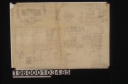 Living room mantel\, bookcase & desk -- elevation\, plan\, section thru bookcase\, section thru desk; half elevation of pigeon holes in desk; F.S. details A-J of living room mantel :Sheet no. 9.
