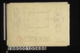 Front i.e. south elevation, plan, side i.e. east elevation, end i.e. north elevation.