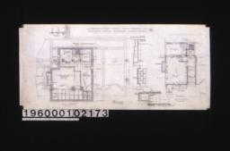 """Plan of basement; detail drawings of pier B-10 and pier B-9 (on edge of chimney footing); section """"R-R""""; detail drawing of new pilasters\, """"G""""; section thro' tank room\, """"D-D""""; section thro' tank room\, """"D-D""""; first floor plan :No.1"""