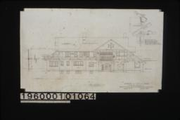 "West elevation with section through wall ; 3/4"" scale detail of porte cochere support (position determined by pitch of roof and relation to frame line of house as shown) : Sheet no. 5."