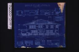 Front (east) elevation; interior details -- section thro' fireplace\, west side of living room\, west side of dining room\, stairs\, north side of dining room\, west side of den\, north side of den\, looking west in hall (2nd floor)\, looking south in hall (2nd floor);Sheet no. 5.