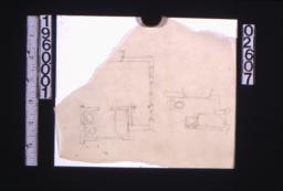 Sketches of plans of bathroom