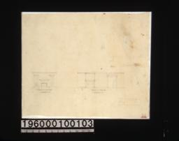 Detail drawings of mantel in dining room and mantel in living room.