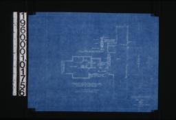 """Plan showing rearrangement of third floor rooms; 1 1/2"""" scale sections through sliding sash partitions :12\, (2)"""