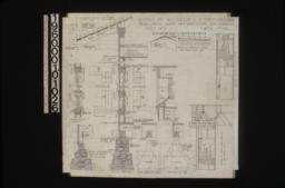 "Detail in section of double hung windows, detail of foundation walls on north side of house, typical section thro' wall with exterior and interior elevations of window, detail of shingled ridge, detail of vents in gable ends, detail drawings of typical girder post footing and footings ""A"", detail of stairs and mantel in bedroom no. 1, elevation looking in south in living room : Sheet no. 7,"