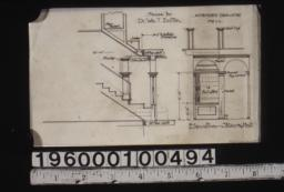Amended drawing showing section through stairs, elevation of stairs and hall :No. 1c.