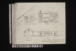 """Plan\, end elevation\, front elevation\, 1 1/2"""" scale detail of cornice :Sheet no. 1."""