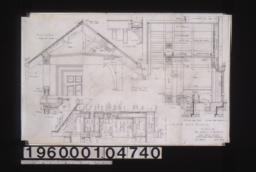 Details of front porch -- transverse section with plan\, longitudinal section with section thru doorstep\, section thru stoop with plan; flower box -- elevation\, section; section through living room bay : Sheet no. 12.
