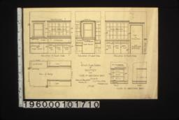1/2 insch scale details of pantry and case in dressing room -- elevation of south side\, elevation of west side\, elevation of north side\, plan of pantry\, case in dressing room : No. 25.