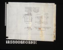 Alternate scheme for den -- east elevation of interior\, south elevation of interior\, first floor plan\, east elevation of exterior\, north elevation of exterior :Sheet [No. 8]\,