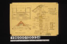 Details -- elevation and plan of living r'm mantel\, typical section through wall with portions of elevation outside and elevation inside\, section of sash that swings in :8.