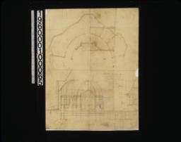 Sketch showing proposed change of the west memorial window to position over alter in chance -- plan, section, elevations.