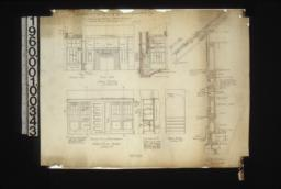 Details -- nook details - elevation of north side and east side\, section through hearth showing south side; dining room details - elevation of north end of dining room\, section F-F\, elevation of arch in hall; typical section through wall showing details of window and door framing :No. 7.