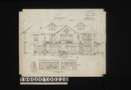 East elevation (front)\, section through wall; dining room details -- section of sideboard\, elevations of west side and north end :5.