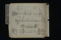 1 1/2 inch scale details -- sections through walls showing framing for doors and windows\, plan of door jamb; front elevation\, section A-B showing living rm. and pergola\, front and side elevations of dining room fire place\, front and side elevations of living rm. chimney : No. 2.